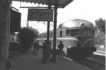 Train pulling into Jerusalem's old train station in 1956