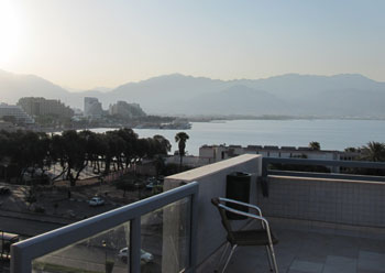 View of the Gulf of Eilat from the balcony of the Eilat Youth Hostel