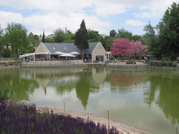 The lake and restaurant at the Jerusalem Botanical Gardens.