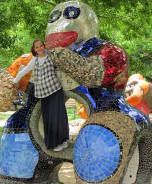 Climbing the Niki de Saint Phalle sculptures at the Jerusalem Zoo