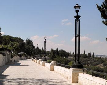 Walkway at the Haas Promenade in Jerusalem