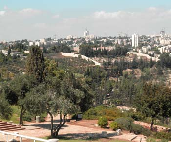 Park at Haas Promenade in Jerusalem, Israel