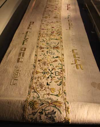 A sixteenth century Torah cover from the Museum of Italian Jewish Art in Jerusalem