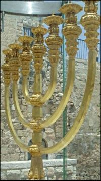 gold menorah in Jerusalem