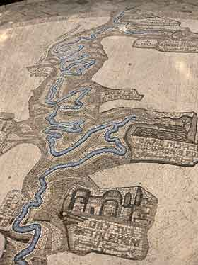 Mosaic of the aqueduct at the Haas Promenade in Jerusalem