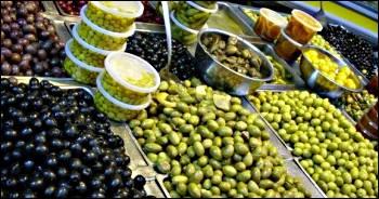 olives on display in Mahane Yehuda