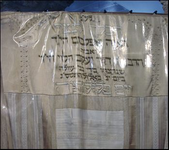 rachel's tomb covered with the wedding dress of Nava Applebaum