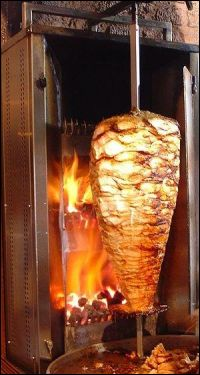 gyros sandwich - chicken shawarma on a spit