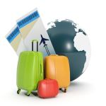 suitcases and globe
