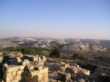 View of Jerusalem from the tomb of the Prophet Samuel.