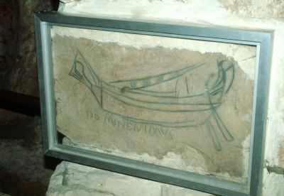 Ship etching in St. Vartun's Chapel