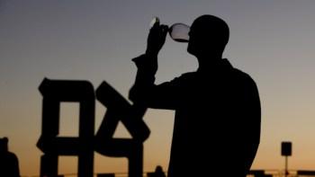 man tasting wine at Israel Wine Festival in Jerusalem