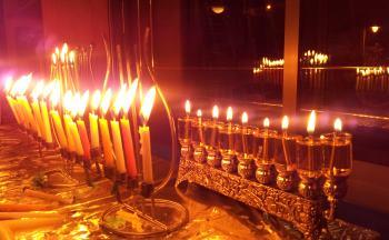 hannukah menorahs in Jerusaelm