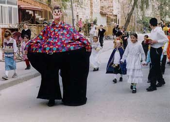 Children in costume Shushan Purim in Jerusalem