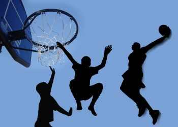 shadows of boys playing basketball