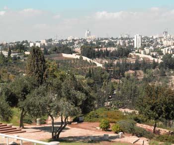 Park at Haas Promenade in Jerusalem, Israel