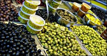 olives on display in Mahane Yehuda