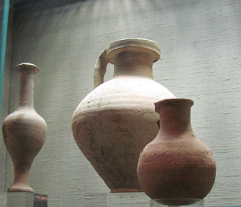 Clay jars on display at the Wohl Museum in Jerusalem.